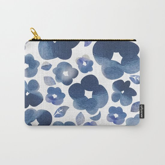 Blue Watercolour Flowers Carry-All Pouch