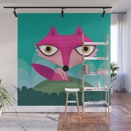 Hot pink fox Wall Mural