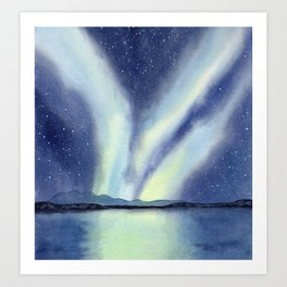 Northern Lights with Mountains and Lake Art Print