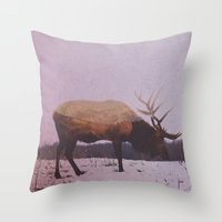 elk Throw Pillows featuring Elk by Andreas Lie