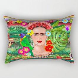 Frida Kahlo Floral Exotic Portrait Rectangular Pillow