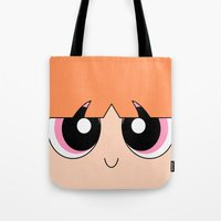 powerpuff girls Tote Bags featuring Blossom -The Powerpuff Girls- by CartoonMeeting