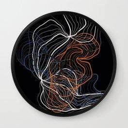 Gray and copper / digital abstract drawing Wall Clock