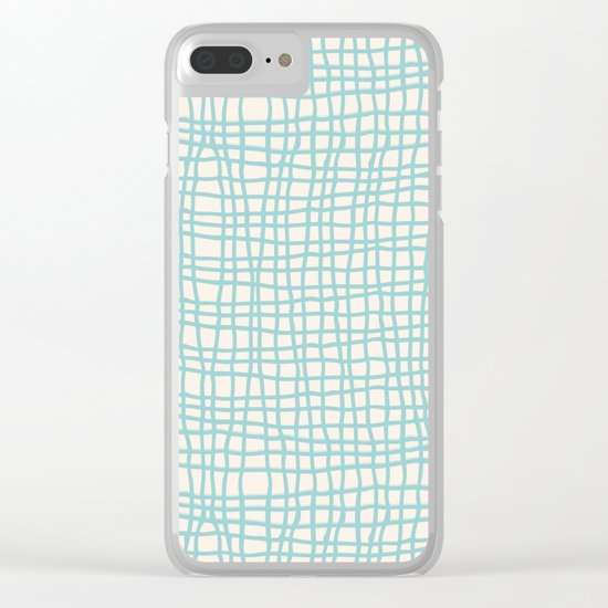 Blue Scribbles Pattern 06 Clear iPhone Case