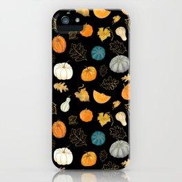Halloween Pumpkins and Gold Leaf Pattern - black palette iPhone Case