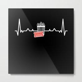 Cinema Popcorn Heartbeat Film Lover Gift Metal Print