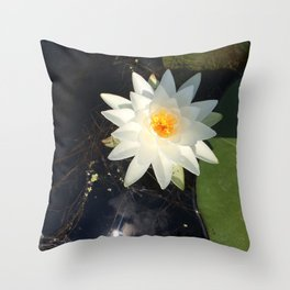 Naturals by Nikki - White Water Lily (open) Throw Pillow