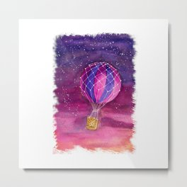 Watercolor air balloon in the sunset Metal Print