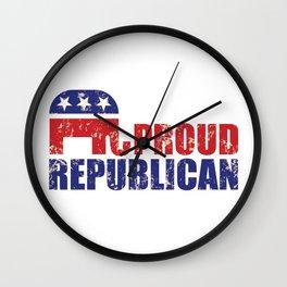 Proud Republican Elephant Distressed Tan Wall Clock