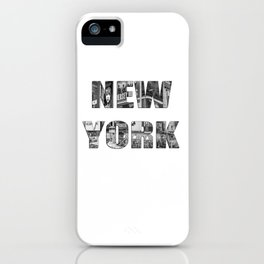 New York  B&W typography iPhone Case
