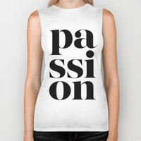 typo Biker Tanks featuring Passion Typo by Le Dous
