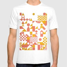 GRID II MEDIUM White Mens Fitted Tee