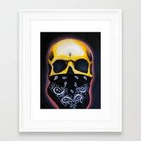 gangster Framed Art Prints featuring Gangster Skull  by GIlbert G909