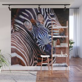 Two Zebras Playing With Each Other Wall Mural