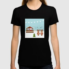 Christmas market cartoon illustration with Santa Claus behind the stand T-shirt