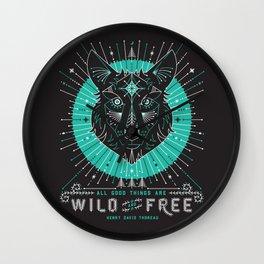 Wild & Free Wolf – Turquoise & Grey Wall Clock