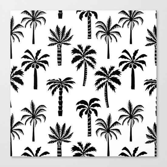 Palm Trees linocut black and white tropical summer art minimalist decor Canvas Print