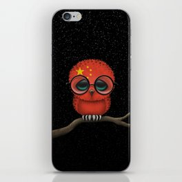 Baby Owl with Glasses and Chinese Flag iPhone Skin