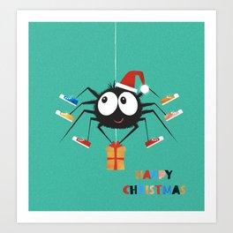Happy Christmas Santa Spider Art Print
