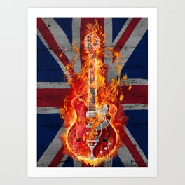 Union Jack with Electric Guitar on Fire Art Print