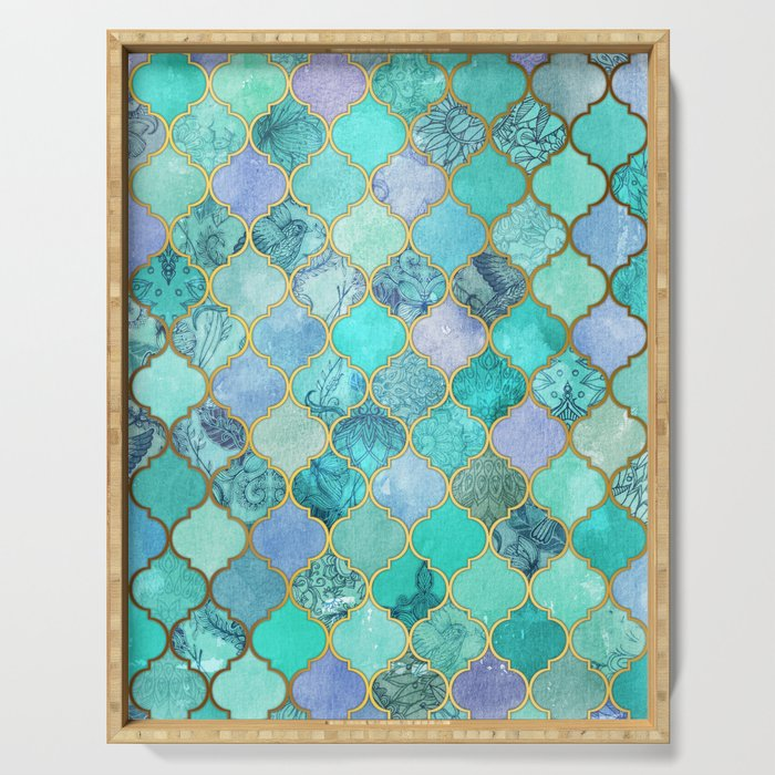 Cool Jade & Icy Mint Decorative Moroccan Tile Pattern Serving Tray