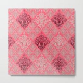 red&grey Baroque Pattern on gentle raspberry Metal Print