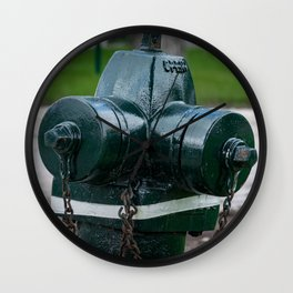 Tilting Green Waterous Pacer Fire Hydrant Crooked Fire Plug Wall Clock
