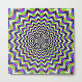 Psychedelic Star in Yellow Pink Blue and Green Metal Print