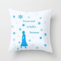 snowman Throw Pillows featuring Snowman by BlackBlizzard