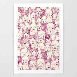 just alpacas cherry pearl Art Print