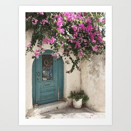 Blue front door with pink cherry blossom tree Art Print