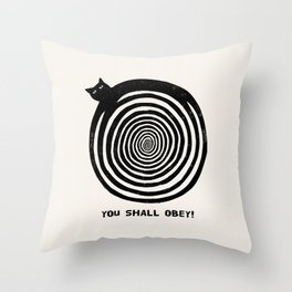 Hypnotic Black Cat Throw Pillow