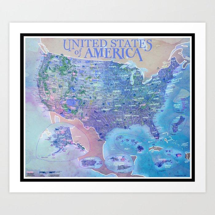 Map Of America National Parks.United States Of America National Park Adventure Map Art Print By Albruk