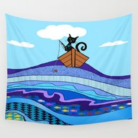 fishing Wall Tapestries featuring Cat  Fishing by Cat Attack