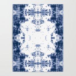 Shibori Tie Dye 5 Indigo Blue Poster