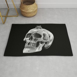 Cracked skull with mouse BW Rug
