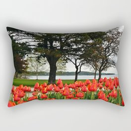 Tulips and the Trees by the Lake Rectangular Pillow