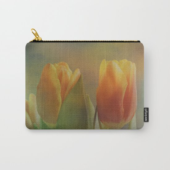 Painterly spring tulips on an abstract background Carry-All Pouch