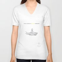yellow submarine V-neck T-shirts featuring Yellow submarine by Little cabin on the hill