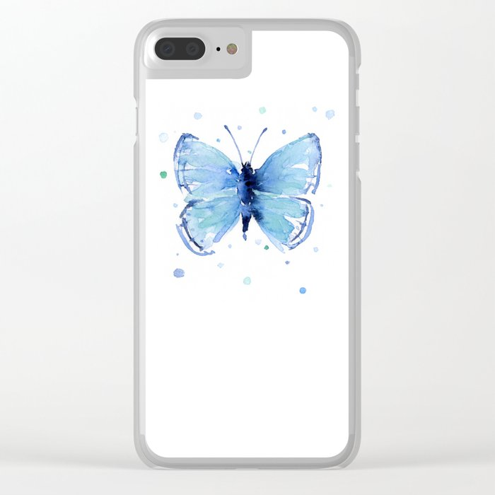 Blue Butterfly Watercolor Butterflies Animals Clear iPhone Case
