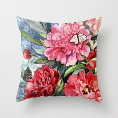 watercolor peonies Throw Pillow