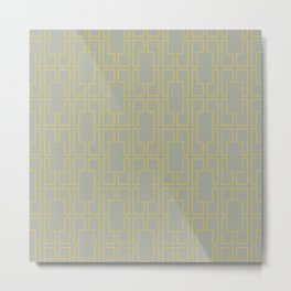 Simply Mid-Century Mod Yellow on Retro Gray Metal Print