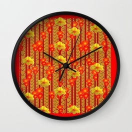Red Oriental Style Poppies & Daffodils Pattern Wall Clock