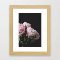 Peonies on black Framed Art Print