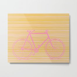Pink Bike on Blush and Gold Lines Metal Print