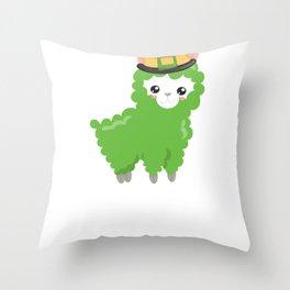 Kids St Patricks Day Irish Llama Green Llama Throw Pillow