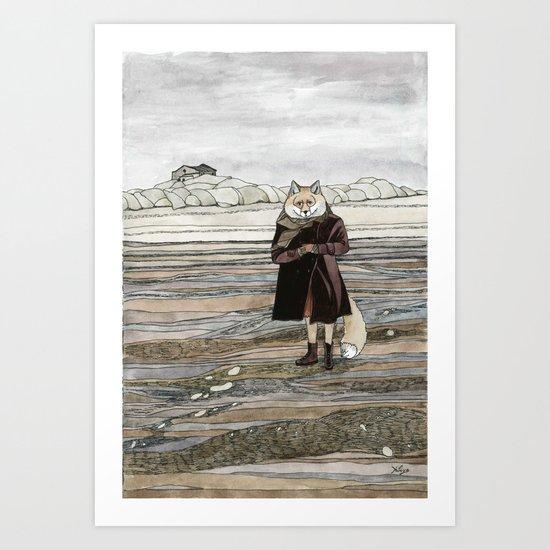 Fox in Sand Dunes Art Print
