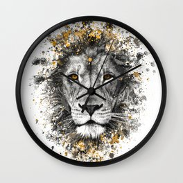 Lion with orange eyes Wall Clock