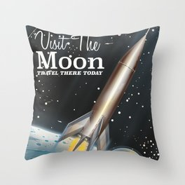 visit the moon vintage science fiction poster Throw Pillow