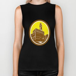 Tower of Palazzo Vecchio Florence Low Woodcut Biker Tank